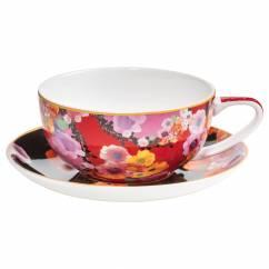 BLOEMS Tasse mit Untertasse Rot/Schwarz, Bone China Porzellan, in Geschenkbox