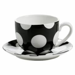 POLKA DOT Tasse mit Untertasse Schwarz, Porzellan
