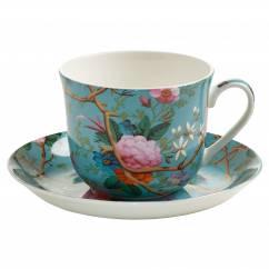 KILBURN Frühstückstasse mit Untertasse Victorian Garden, Bone China Porzellan, in Geschenkbox