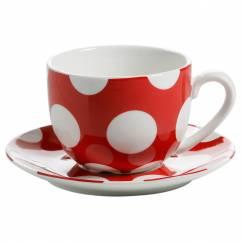 POLKA DOT Tasse mit Untertasse Rot, Porzellan