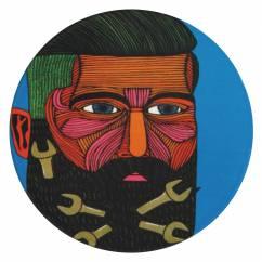 MULGA Untersetzer rund, 10,5 cm, Spanner Man, Keramik - Kork