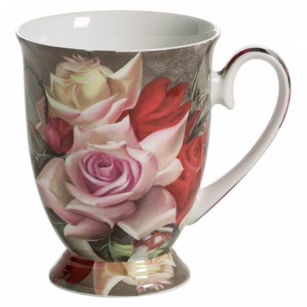ROYAL OLD ENGLAND Becher auf Fuss Blumenstrauß, Bone China Porzellan, in Geschenkbox