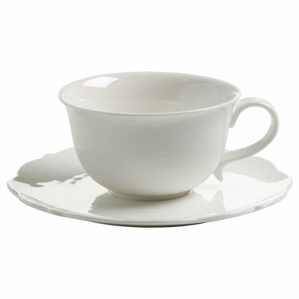 WHITE ROSE Tasse mit Untertasse, Porzellan