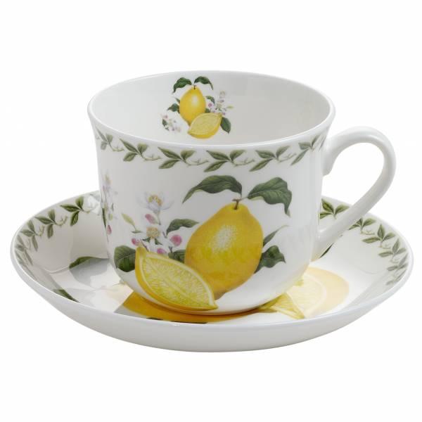 ORCHARD FRUITS Frühstückstasse mit Untertasse Zitrone, Bone China Porzellan, in Geschenkbox