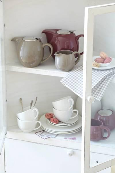 INFUSIONST Teekanne Taupe, 1 l, Keramik - Edelstahl, in Geschenkbox