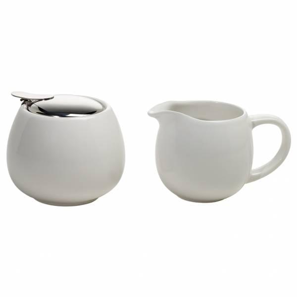 INFUSIONST Milch und Zucker Set Weiß, Keramik - Stahl, in Geschenkbox