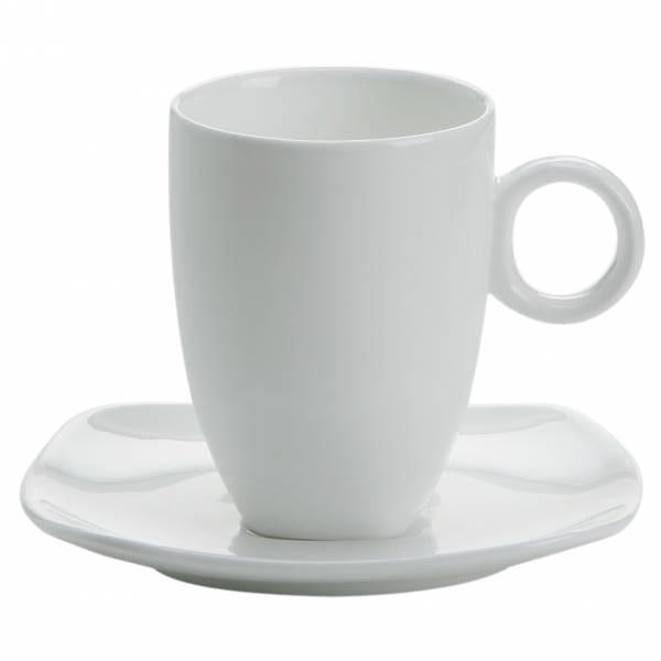 CASHMERE SQUARE Espressotasse mit Untertasse hoch, Bone China Porzellan